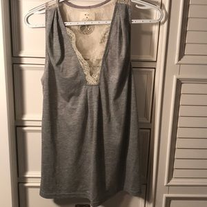 Gray lacy tank top